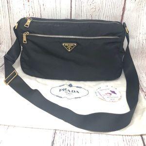 Prada Black Nylon Fabric Messenger Bag